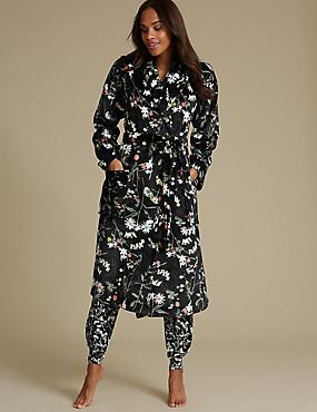 Shimmersoft™ Floral Print Dressing Gown, BLACK MIX, catlanding