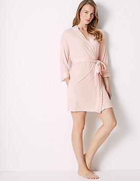 Bridesmaid Tie Front Wrap Dressing Gown, SOFT PINK, catlanding