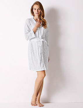 Heart Print Wrap Dressing Gown