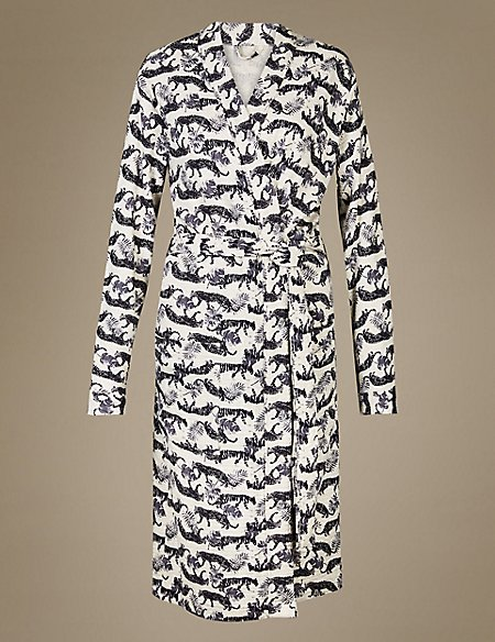 Pure Cotton Tiger Print Waffle Dressing Gown | M&S Collection | M&S
