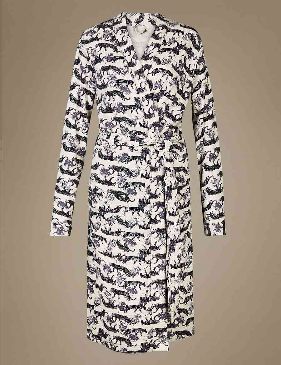 1fe500ce21 Pure Cotton Tiger Print Waffle Dressing Gown