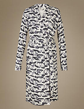 Pure Cotton Tiger Print Waffle Dressing Gown, OATMEAL MIX, catlanding