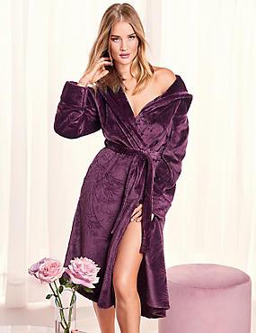 Shimmersoft™ Embossed Dressing Gown, AUBERGINE, catlanding