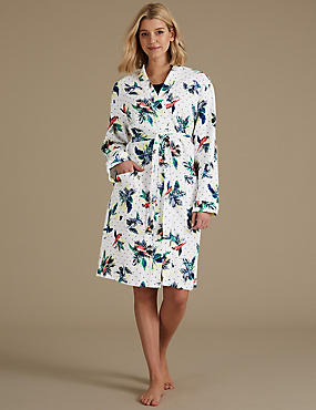 Pure Cotton Parrot Print Waffle Dressing Gown, IVORY MIX, catlanding
