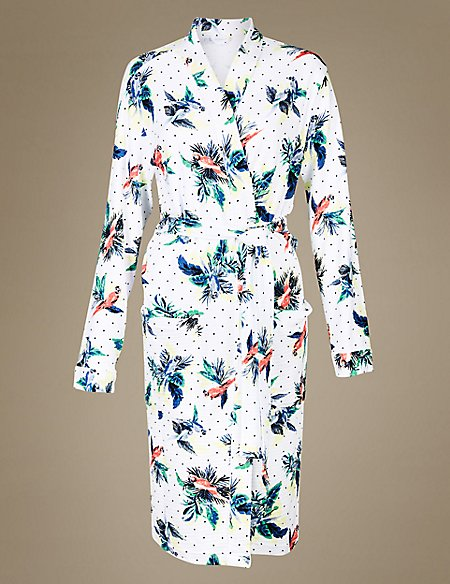 Pure Cotton Parrot Print Waffle Dressing Gown | M&S Collection | M&S