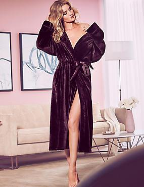 Luxury Velvet Touch Fleece Dressing Gown, DARK AUBERGINE, catlanding