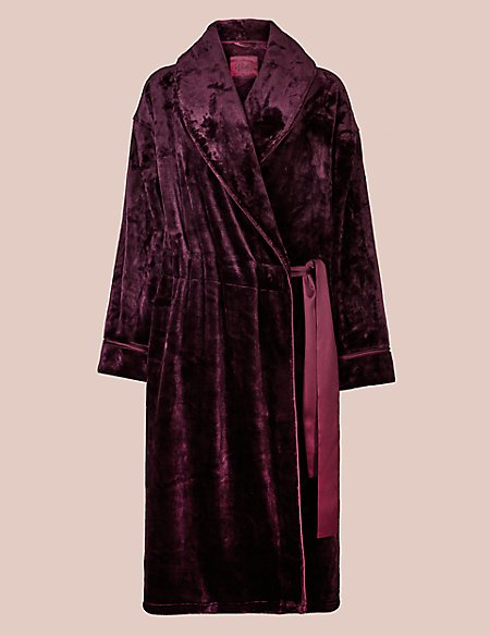 Luxury Velvet Touch Fleece Dressing Gown