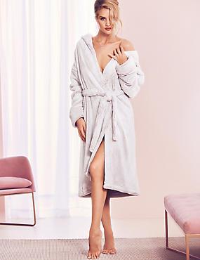 Luxury Fleece Hooded Dressing Gown , LIGHT PINK MIX, catlanding