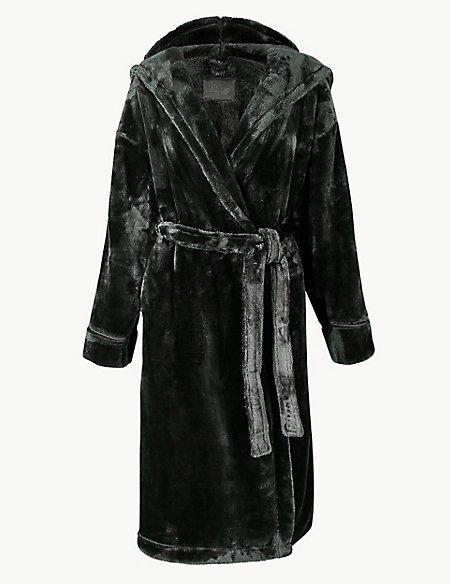 Luxury Fleece Hooded Dressing Gown