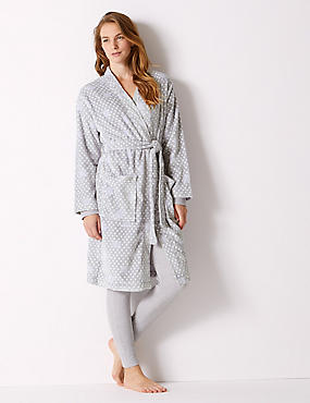 Supersoft Spotted Long Sleeve Dressing Gown, GREY MIX, catlanding