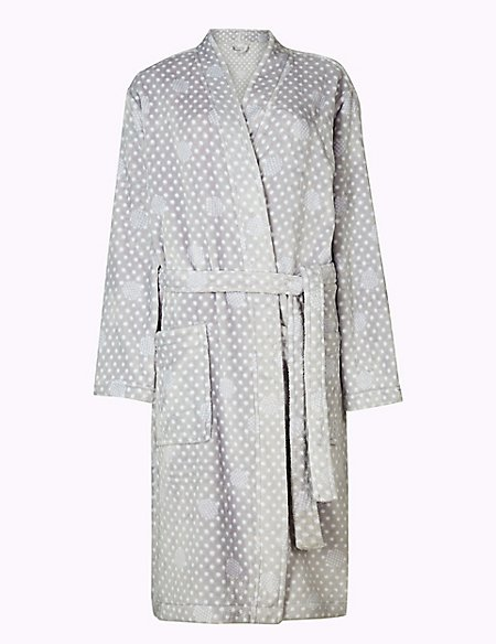 Supersoft Spotted Long Sleeve Dressing Gown