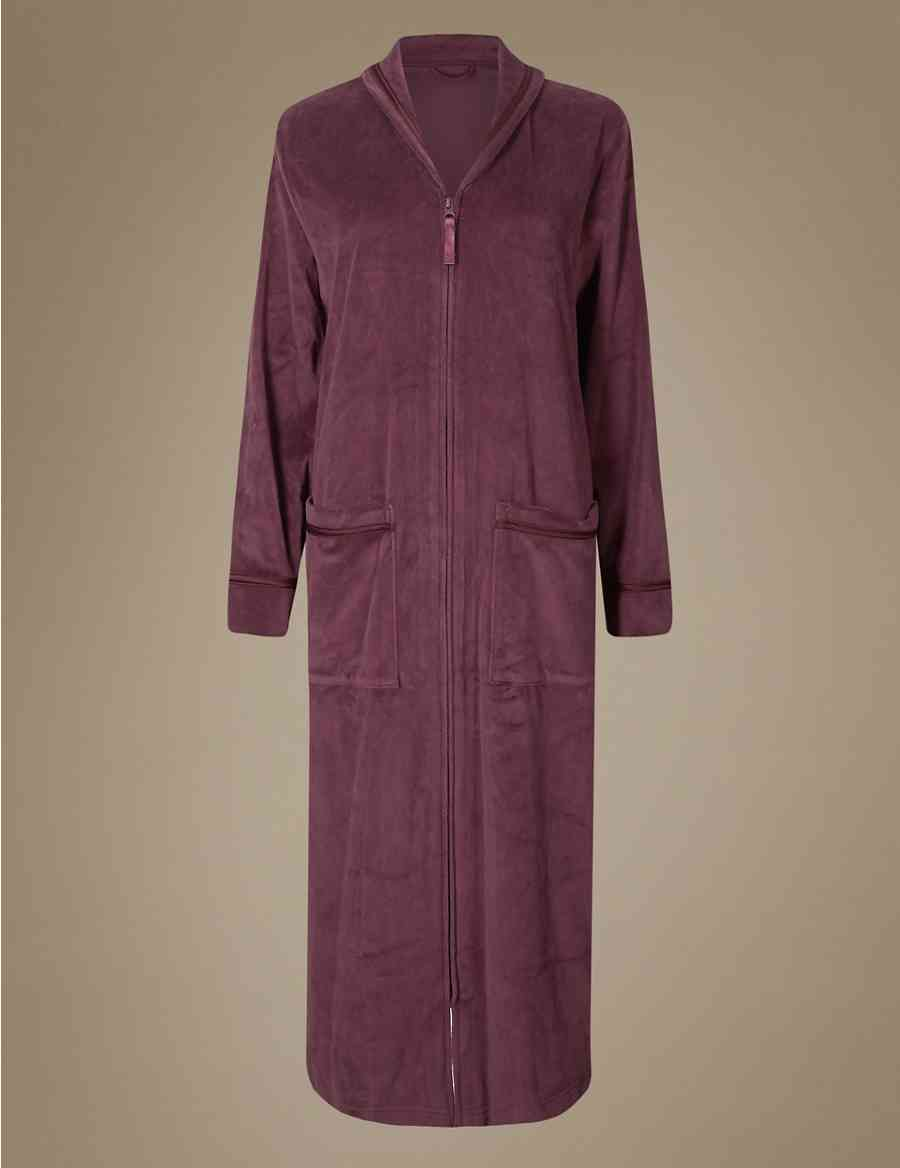 Velvet Zipped Through Dressing Gown Ms Collection Ms