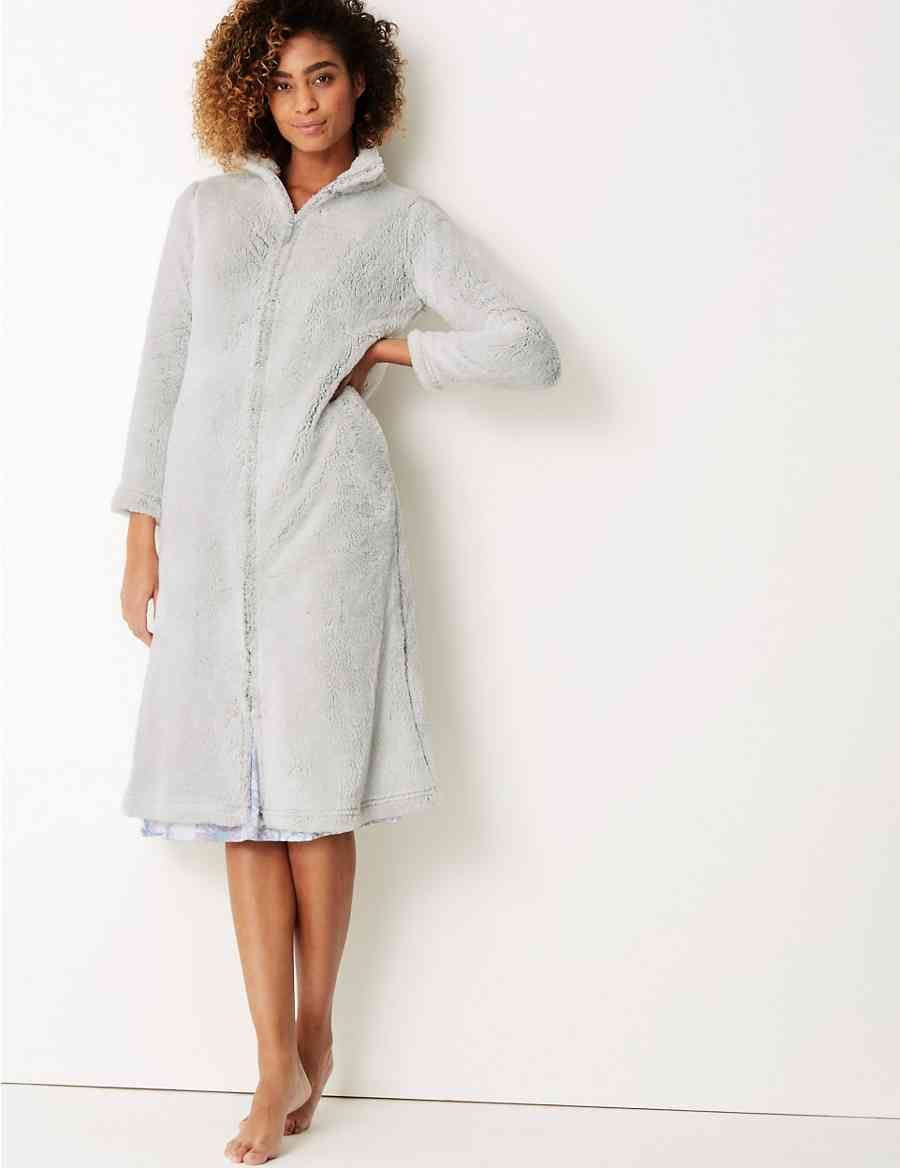 39ea174820 Supersoft Long Pile Zip-up Dressing Gown