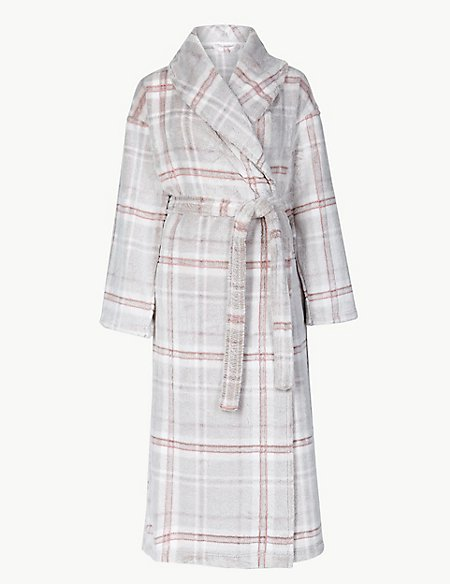 Supersoft Checked Dressing Gown with Belt