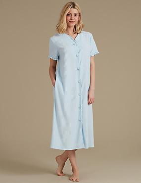 Striped Short Sleeve Dressing Gown, SKY BLUE, catlanding