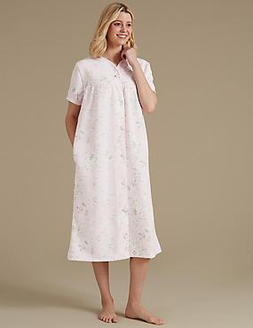 Floral Print Short Sleeve Dressing Gown, SOFT PINK, catlanding