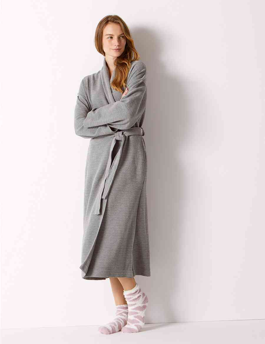 Textured Ribbed Waffle Dressing Gown Ms Collection Ms