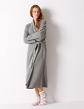 Textured Ribbed Waffle Dressing Gown , DARK GREY, catlanding