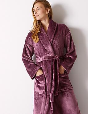 Fleece Long Sleeve Dressing Gown with Belt