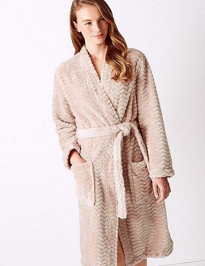 Robe de chambre ultra-douce style kimono à motif texturé  c13be3df15b
