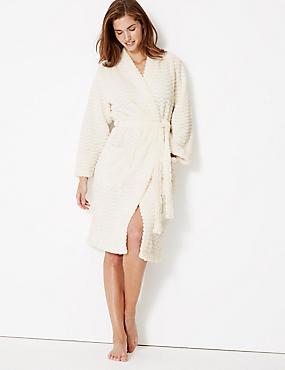 Fleece Long Sleeve Dressing Gown with Belt, IVORY, catlanding