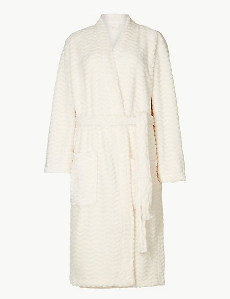 Textured Supersoft Long Sleeve Dressing Gown