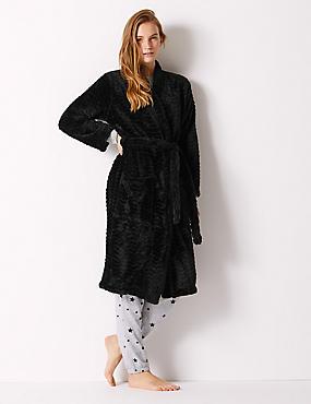Fleece Long Sleeve Dressing Gown with Belt, BLACK, catlanding