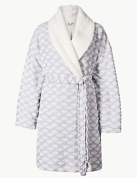 Cloud Print Long Sleeve Dressing Gown