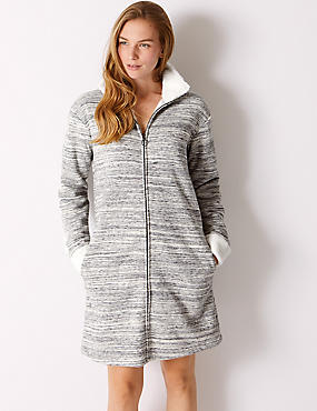 Cotton Rich Textured Zip-Up Dressing Gown, GREY MIX, catlanding