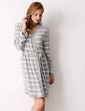 Striped Lounge Wrap Dressing Gown , GREY MIX, catlanding