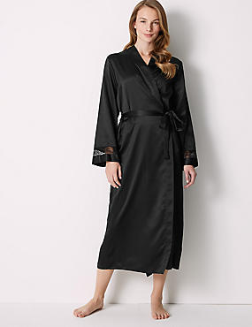 Long Satin Wrap Dressing Gown with Belt, BLACK, catlanding