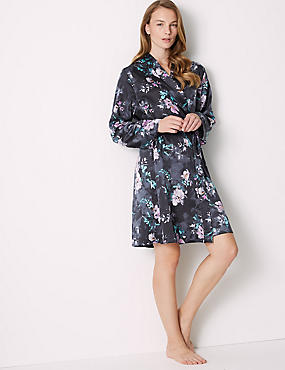 Satin Floral Print Wrap Dressing Gown , BLACK MIX, catlanding