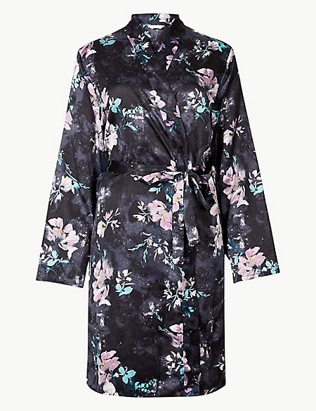 Satin Floral Print Wrap Dressing Gown