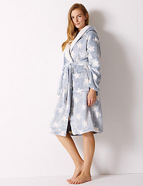Supersoft Star Print Hooded Dressing Gown
