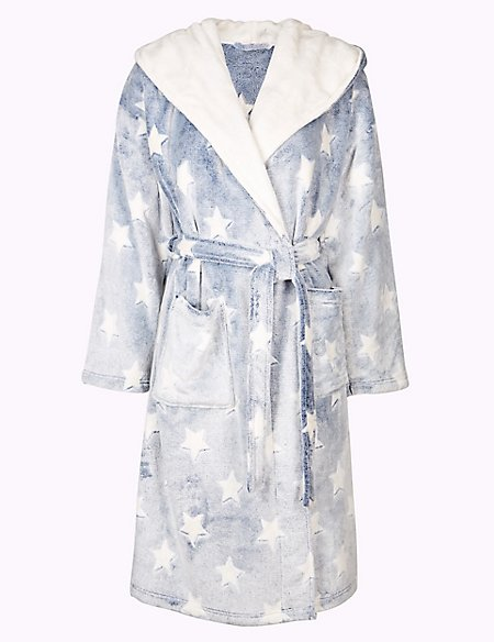 746def091 Supersoft Star Print Hooded Dressing Gown