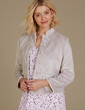 Fleece Textured Long Sleeve Bed Jacket