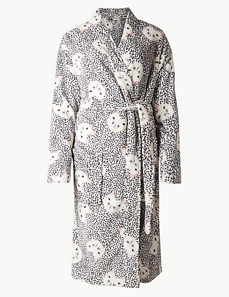 Fleece Cat Kimono Print Dressing Gown | M&S Collection | M&S