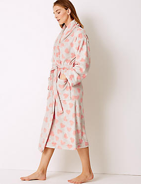 Heart Print Long Sleeve Dressing Gown