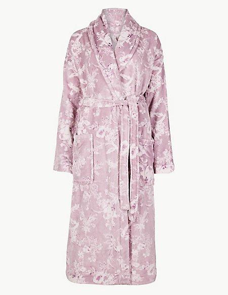 Fleece Floral Print Dressing Gown