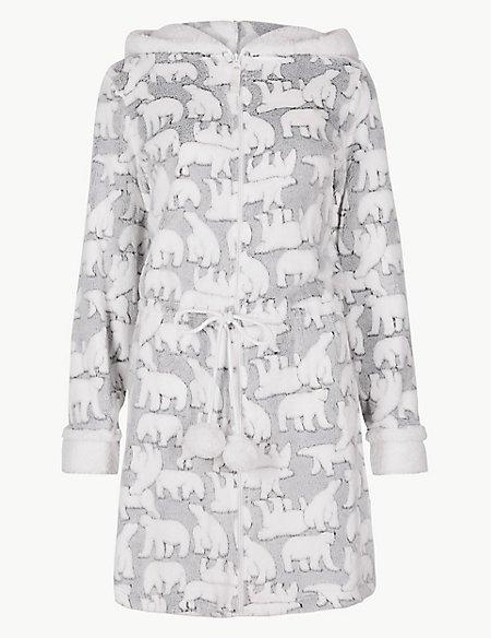Textured Polar Bear Long Sleeve Dressing Gown