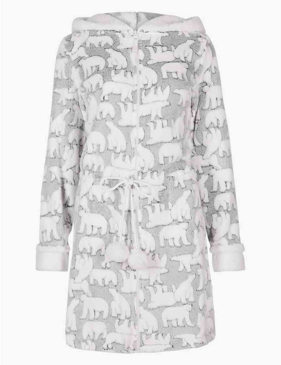 Textured Polar Bear Long Sleeve Dressing Gown  240151577