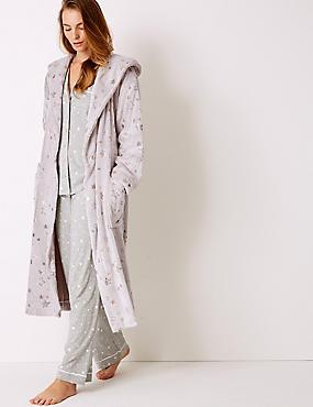 Fleece Star Print Dressing Gown, OATMEAL MIX, catlanding