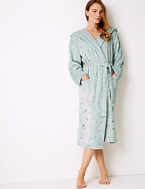 Fleece Star Print Dressing Gown, MINT MIX, catlanding
