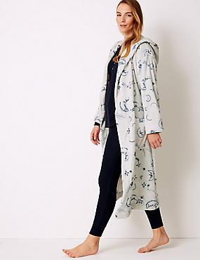 Fleece Printed Long Sleeve Dressing gown, GREY MIX, catlanding