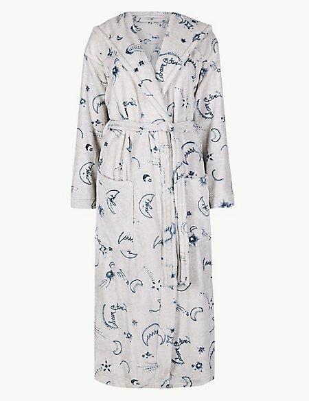 Fleece Printed Long Sleeve Dressing gown