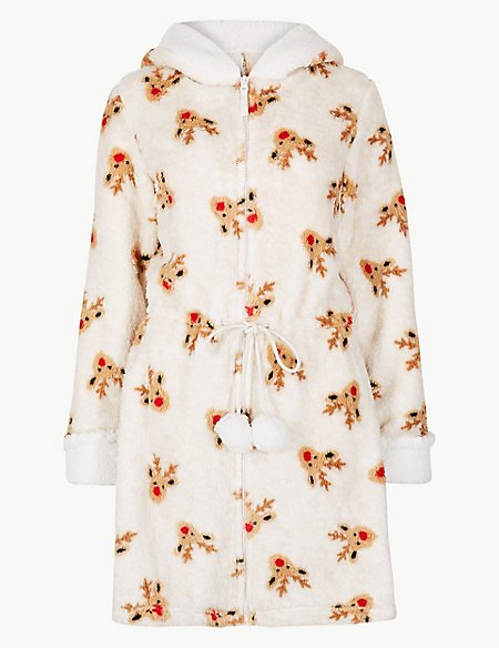 Textured Reindeer Print Dressing Gown | M&S Collection | M&S