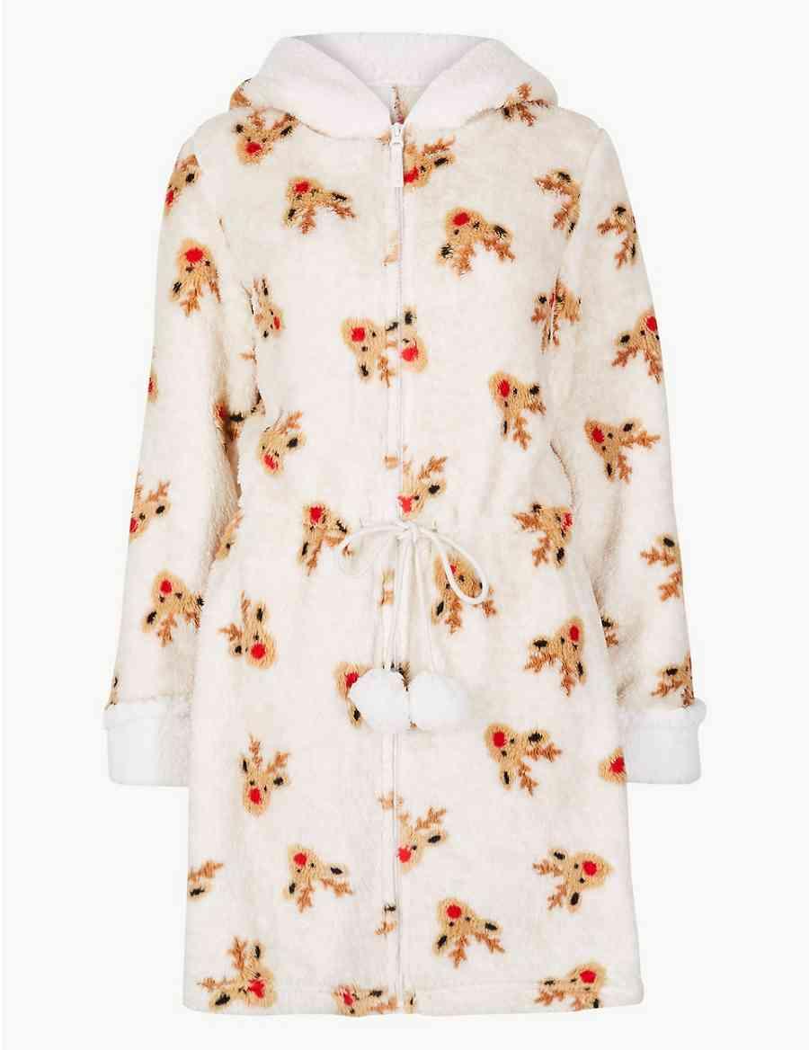 0110e9ada9 Textured Reindeer Print Dressing Gown