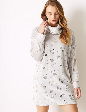 Star Print Long Sleeve Lounge Dress