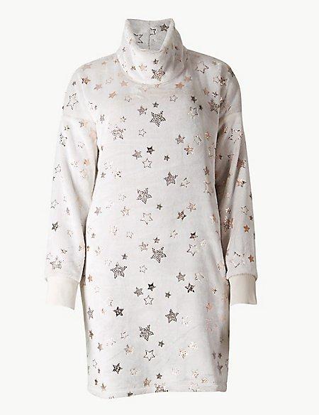 Star Print Long Sleeve Lounge Dress