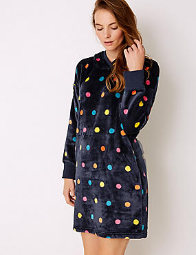 Fleece Spotted Lounge Dressing Gown